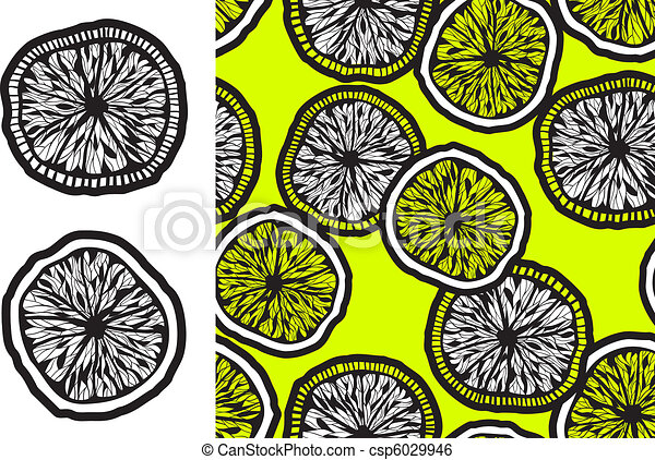 Monochrome Lemon Slices And Seamless Backgroud Vector ...