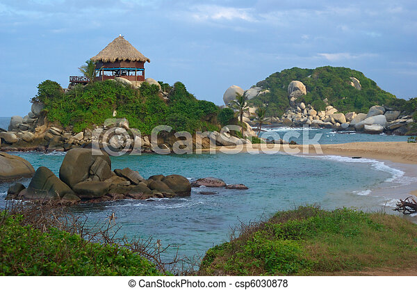 Beach Hut in Tayrona on the Northern coast of Colombia - csp6030878