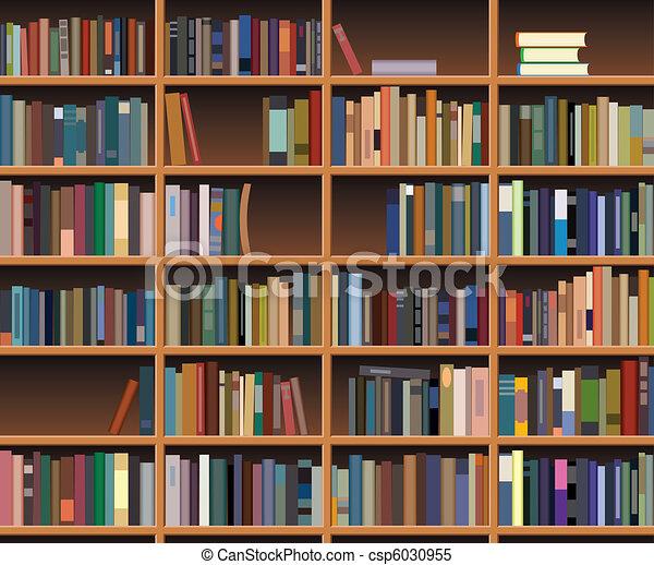 vector wooden bookshelf - csp6030955