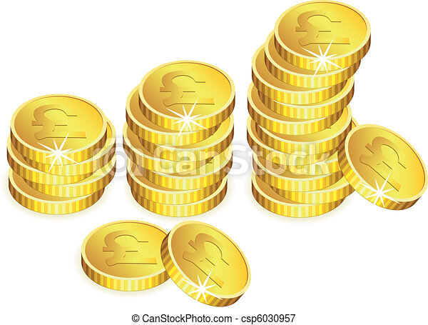 vector golden coins with sparkles - csp6030957