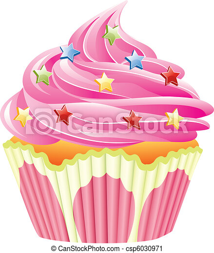 vector pink cupcake with sprinkles - csp6030971
