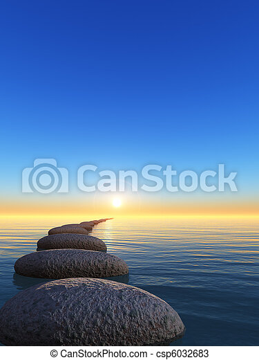 rock and sunrise - csp6032683