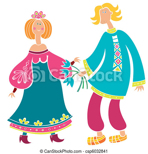 Russian man and girl (series)  - csp6032841