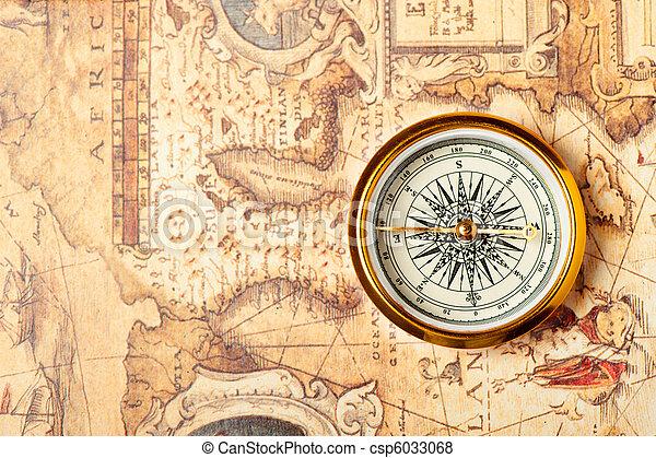 mappa, Antico, vecchio, Bussola - csp6033068