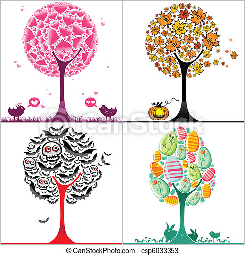 Set of colorful stylized trees - csp6033353