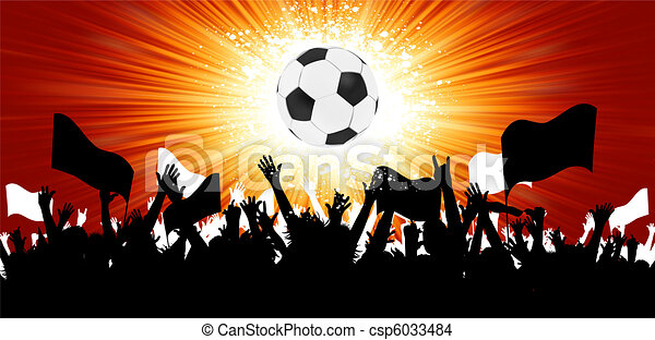 Soccer ball with crowd silhouettes of fans. EPS 8 - csp6033484
