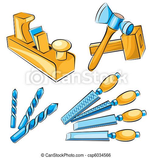 Clip art vecteur de menuisier outils main ensemble - Outil de menuisier ...
