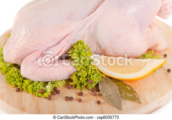 Close-up shot of fresh raw chicken with condiments  - csp6035773
