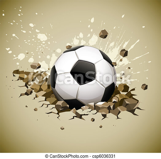 grunge football soccer ball falling on ground - csp6036331