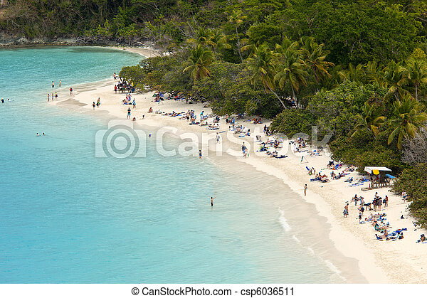 populated beach, us virgin islands - csp6036511