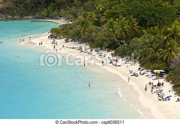 populated beach, us virgin islands - csp6036511