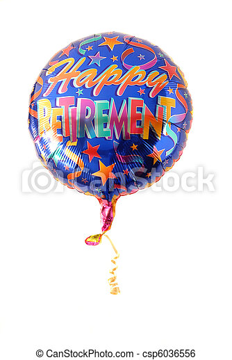 "A festive helium balloon with ""Happy Retirement"" written on it - csp6036556"
