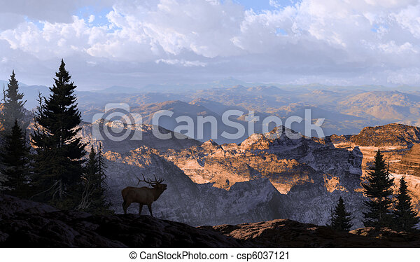 Clipart of Elk Lookout Silhouette - A silhouetted elk looking into ...