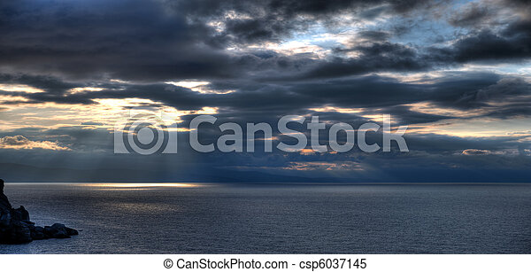 The night sea. The sea photographed at a dawn with long endurance. Crimea, Ukraine
