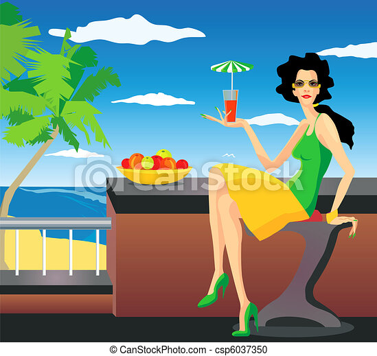 Woman on resort - csp6037350