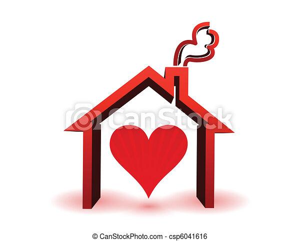 heart inside in house - csp6041616