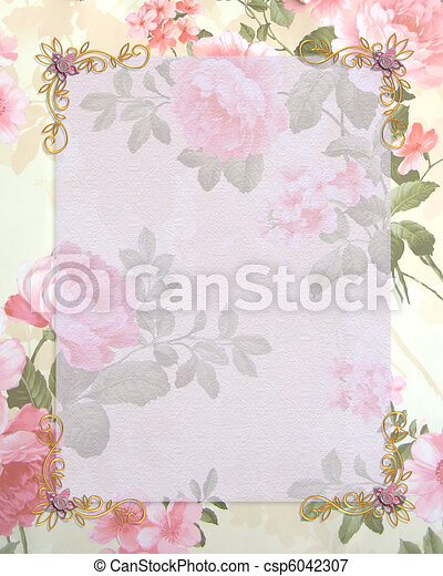 Wedding invitation pink roses - csp6042307