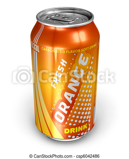 Orange soda drink in metal can - csp6042486