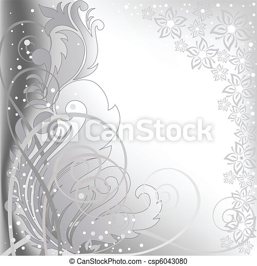 gray background with flowers - csp6043080