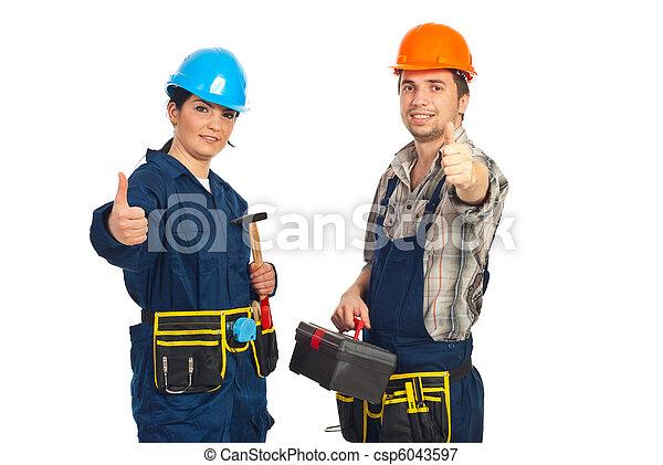 exitoso, equipo, constructor, trabajadores - csp6043597