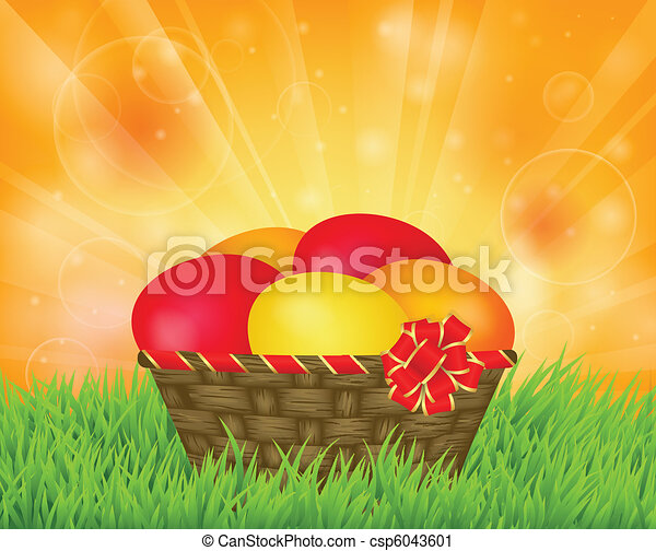 basket with Easter eggs - csp6043601