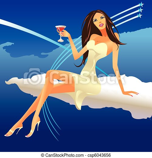party girl set on the cloud  - csp6043656