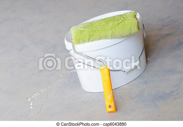 Home Improvement Paint Roller And Paint Tin - csp6043880