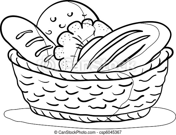 Bread in a basket, contour - csp6045367