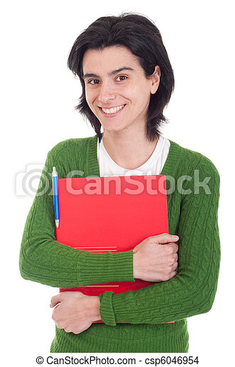 Woman holding dossier - csp6046954