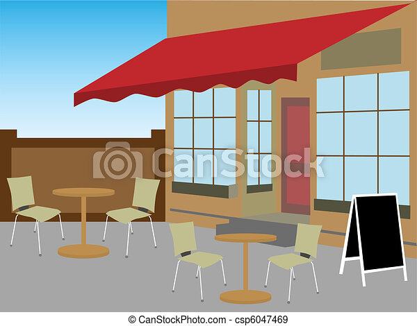 Enclosed cafe courtyard chairs tabl - csp6047469
