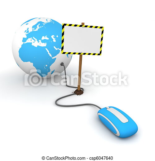 blue computer mouse is connected to a blue globe - surfing and browsing is blocked by a white rectangular sign that cuts the cable - empty template with yellow and black warning stripes - csp6047640