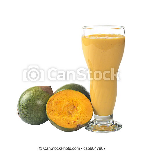 Milkshake out of the Peruvian fruit called Lucuma (lat. Pouteria lucuma) grown in the Andean region of Peru, which is very popular in Peru (Isolated on White) (Selective Focus, Focus on the front) - csp6047907