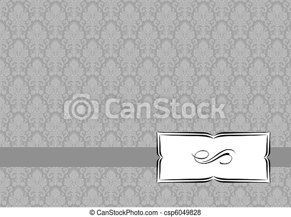 Vector Small Ribbon Frame and Ornate Background - csp6049828