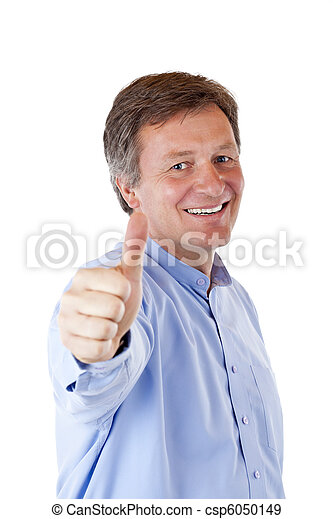Successful, attractive, aged, happy man shows thumb up - csp6050149