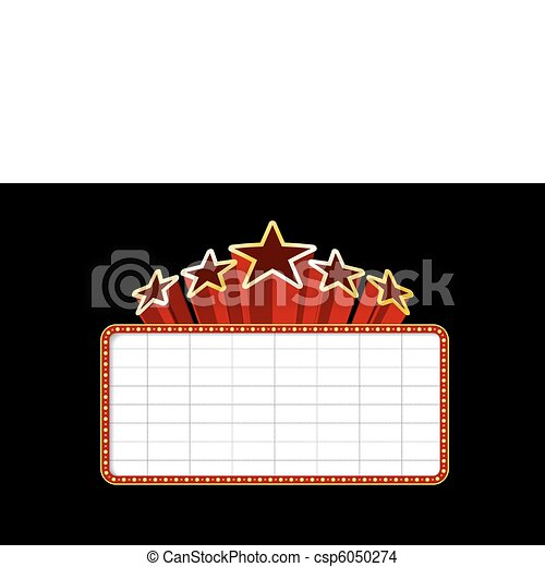 Blank movie, theater or casino marquee - csp6050274
