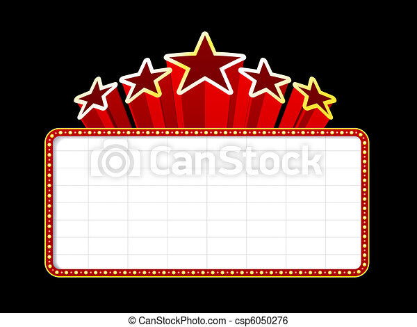 Blank movie, theater or casino marquee - csp6050276