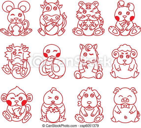 Chinese ancient zodiac animal year - csp6051379