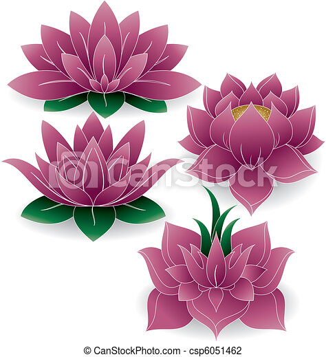 Lotus Set Colored 1 - csp6051462