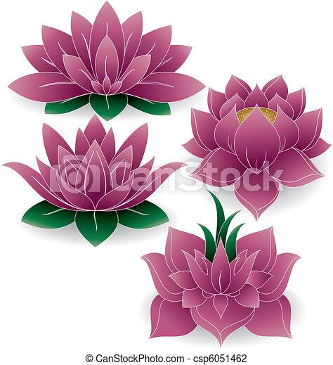 Lotus Set Colored 1 - csp6051462