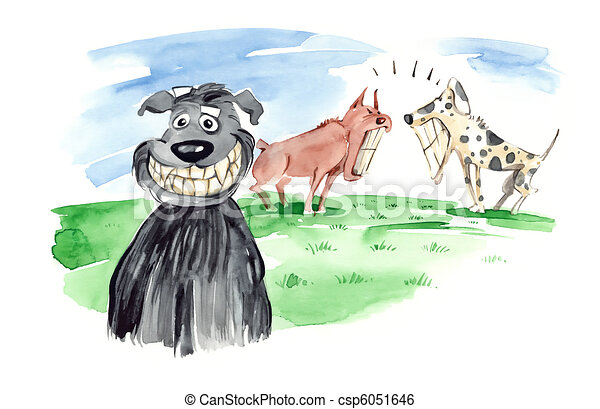 dogs bare teeth - csp6051646