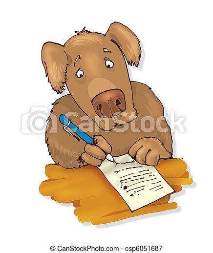 dog writing a letter - csp6051687