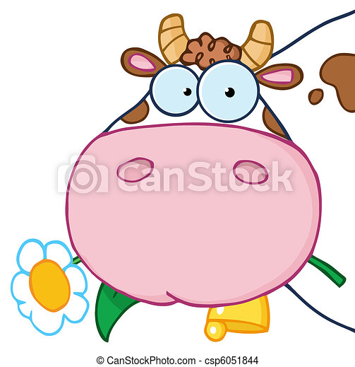 Cow Eating A Flower - csp6051844