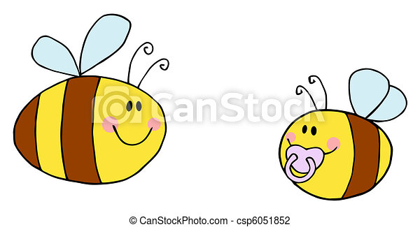 Pudgy Baby Bee With A Parent - csp6051852