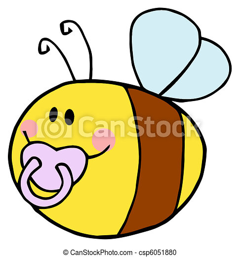 Pudgy Baby Bee With A Pacifier - csp6051880