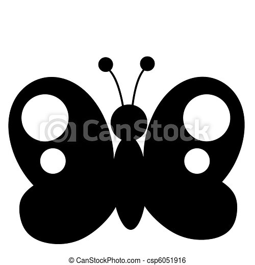 Black Butterfly Silhouette  - csp6051916