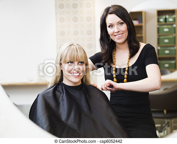 Hairdresser and customer - csp6052442