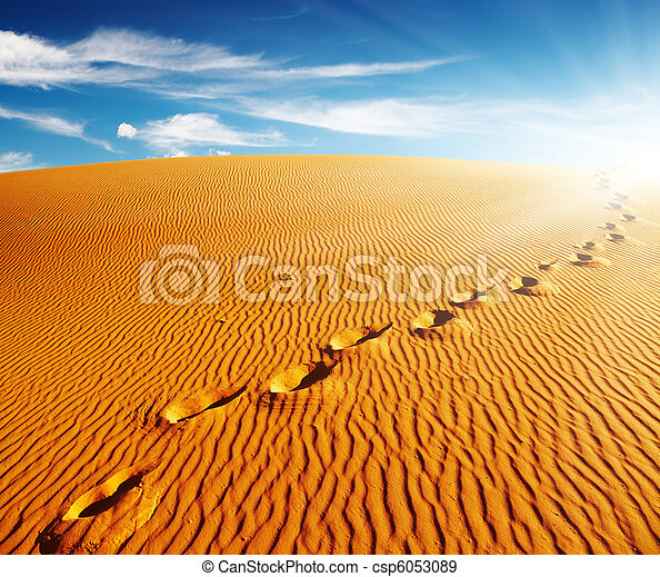 Footprints on sand dune - csp6053089