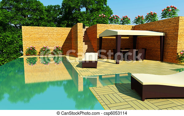 Luxury Villa garden - Day time - csp6053114