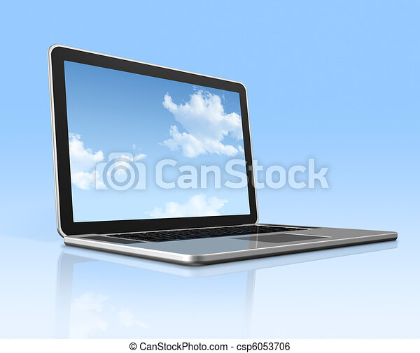 Laptop computer with sky screen isolated on blue - csp6053706