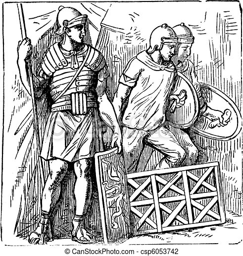 Roman segmented armors and shield old engraving, based on the Trajan's Column sculptures - csp6053742